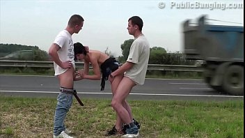 pornhut Cute petite 18 year old teen girl public sex gang bang threesome by busy highway