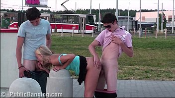 subnopor 3 teens with a very cute young blonde girl PUBLIC threesome sex orgy