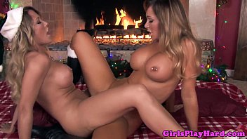 indaxxx Pierced busty lesbian scissors at fireplace