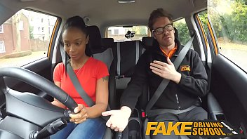 x vidoes Fake Driving School ebony learner with big tits is worst driver yet