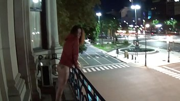 xporn Outdoor public pissing from a balcony in America