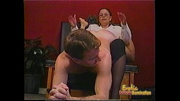 lesibans Kinky dude receives some hardcore spanking from a bespectacled slag