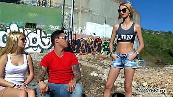 truutruu Myfirstpublic Two hot chicks play naughty game with young muscle stranger public