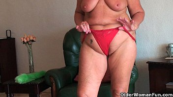 blacken com Chubby granny with saggy big tits and plump ass spreads pussy