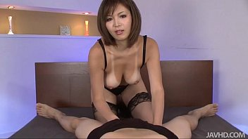 purnhub Sexy tanned Mai Kuroki in bed playing with a horny guys cock making him cum