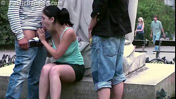 www xxxvideo Daring PUBLIC sex threesome by a famous statue in the middle of the city