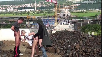 lezkiss Very passionate young blonde girl fucked in public sex threesome by 2 big dicks