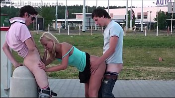 fc2ppv Cute blonde teen girl public gang bang orgy threesome with 2 teen guys
