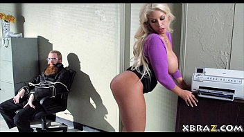 oorno Huge tits blonde office bitch fucked during a bank robbery