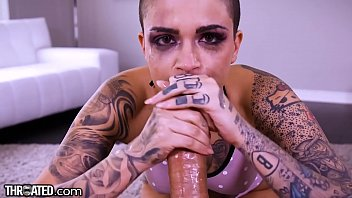 mastasia Throated Split Tongue Leigh Raven Gives A Crazy Blowjob Cumshot