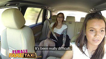 camarads Female Fake Taxi Horny filthy lesbians lick shaved wet pussy in taxi