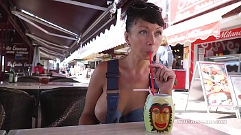 boyztube This denim outfit barely covered my boobsma allowing passers-by around me to see my nipples