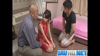 sextermedia Steamy porn action along Japanese doll with two horny males