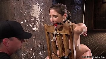 handspanking Gagged and hogties sub in chair