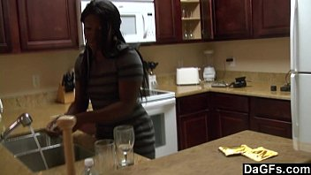 ornhub Ebony with a big ass gets fucked during the dishes