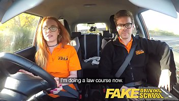 xnxx2 Fake Driving School Nerdy ginger teen fucked to creampie orgasm