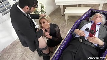 tubegals Grieving Blonde Widow Blows and Fucks Stiff Dick Next to Cuckolded Husband