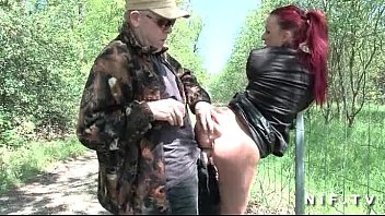 draftsex French redhead slut gets ass fucked in threesome outdoor