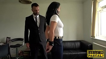 sex Handcuffed UK MILF edged while cockriding dom