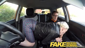 worldsex Fake Driving School big tits hairy pussy student has creampie and squirts