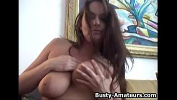 pprno Busty Leslie masturbates her pussy with toy after interview