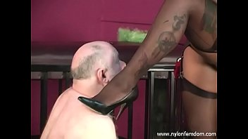 ampland Ebony Nylon Mistress With Slave