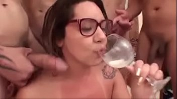 Suzy Slut fucking in the cup with a bunch of men and her friend Izabel Payva