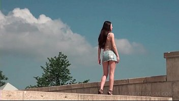 tubekitty Lusty teen taking a walk outdoor teases her cunt and tits