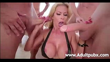 xespl Alexis Fawx gets her throat Drilled by five big-dicked studs