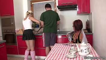www ixxx com Future mother and teen toying at the kitchen