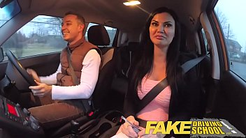 tiffany925 Fake Driving School exam failure ends in threesome double creampie