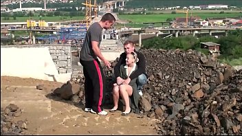 hologirls Very cute little teen girl PUBLIC gang bang threesom at a construction site