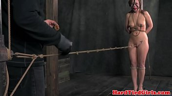 slappyfrog Crotch roped nipple clamped sub punished