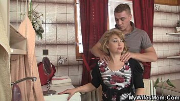 pecorine Mother-in-law jumps at his big cock as his wife leaves
