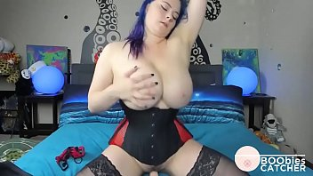 hampster com Blue haired busty babe plays with her sex toy