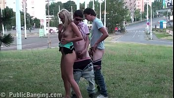 cholotube Young blonde teen cutie public street sex gang bang threesome with 2 guys