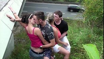 pormhub Cum on big tits in public gang bang foursome