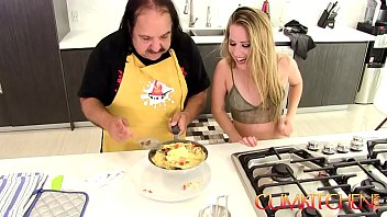 youtubesexo CUM Kitchen Ron Jeremy fucks young blonde teen Lilly Ford while cooking