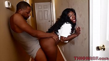 sexykinkycouple20 thick ass ebony skinned Ambitious Booty takes all of Don Prince big black cock on Thickasf