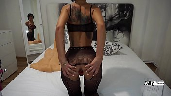 xkeez Busty sex-bomb Anisyia in fis bodysuit plays with sex-toys