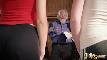 assjob Kiara and Mia both fuck an old man and share his cum after a hot fuck