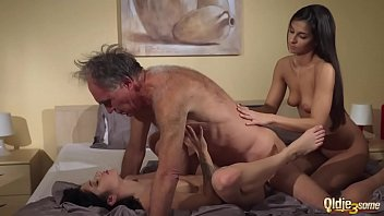 sexwife Old Young Porn Teens share old man and ride his wrinkled cock swallow cum