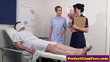 xvide0 Threeway nurse facialized with huge load