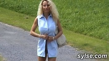 pornhubv MILF with Dildo in parc before flashing threesome with strapon outdoor