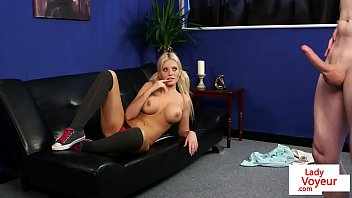nudeporn Busty british voyeur teases while watching