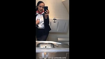 fundorado latina stewardess joins the masturbation mile high club in the lavatory and cums