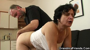 trans500 Granny in white lingerie swallowing two cocks after pussy toying
