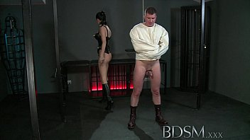 hdpron BDSM XXX Slave boy in straight jacket and anal hook swings brick from his balls to please his Mistre