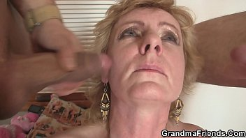 sexbaba Two delivery men bang old lady