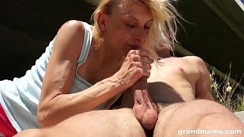 str8balllin Skinny old blonde bitch fucked outdoor by young stud on GrandMams
